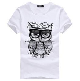 Men's Casual Summer Bad Owl School Printed T Shirt