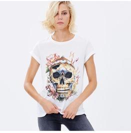 Steampunk Round Collar Skull Head Print T Shirt W2