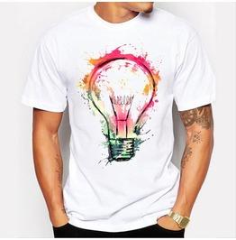 Men's Flashing Bulb Print Short Sleeves T Shirt