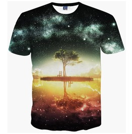 Men's 3 D Lonely Tree Print Short Sleeves T Shirt