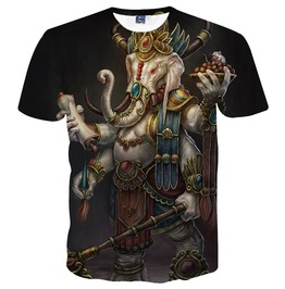 Men's 3 D Divine Elephant Print Short Sleeves T Shirt