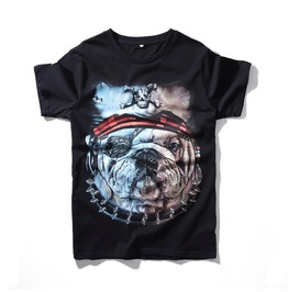 Men's 3 D Pirate Bulldog Print T Shirt