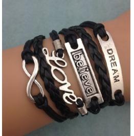 Handmade Dream Believe Infinity Metal Charm,Wax Cord,Leather Bracelet
