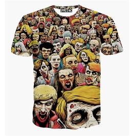 Men's 3 D Hungry Zombies Print T Shirt