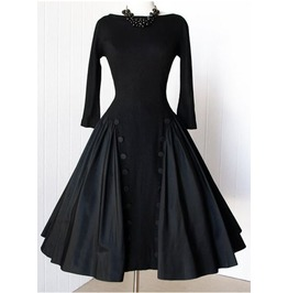Vintage High Neck Line Slim Waist Black Dress