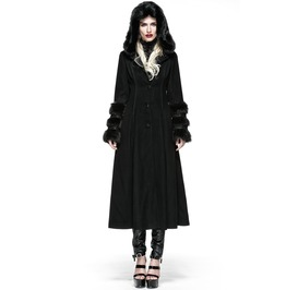 Gothic Fur Sleeves Long Hooded Black Coat