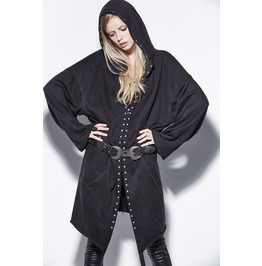 Steampunk Rivets Studded Hooded Black Coat
