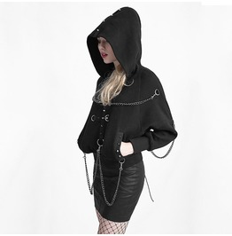 Gothic Links Chain Rivets Studded Side Pockets Short Hooded Black Coat