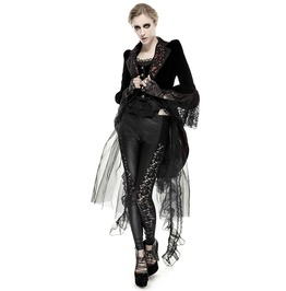 Gothic Lace Flower Sleeves Long Black Coat