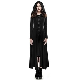 Gothic Strap Up Long Hooded Black Dress