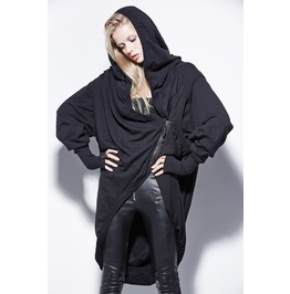 Gothic Loose Style Front Zipper Hooded Black Coat