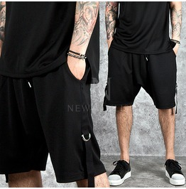 D Ring Strap Accent Black Sweat Shorts 66