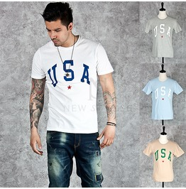 Simple Usa Lettering Printed Round Cotton T Shirts 566
