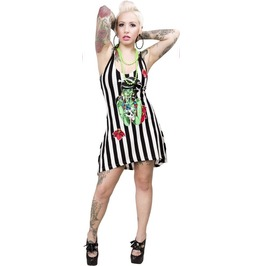 New Black & White Striped Zombie Tiki Dress