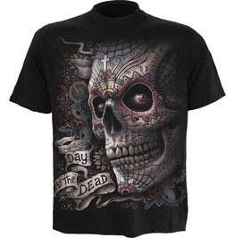 New Men,S Skulls Undead Cross Black T Shirt