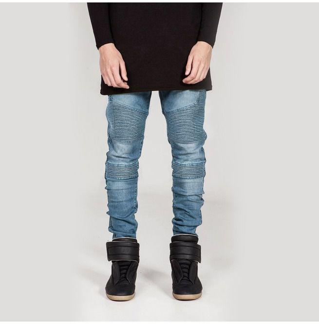 new concept 2c197 a3c43 Streetwear Mens Biker Jeans Homme Men's Fashion Motorcycle Denim Pants