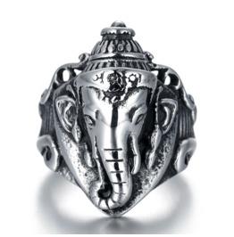 Men's Retro Thai Elephant Thai Silver Personalized Titanium Steel Rings
