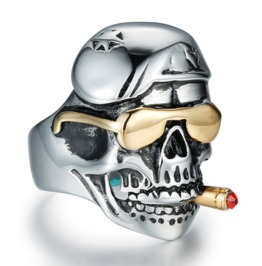 Reto Smoking Pirates Skull Men's Titanium Steel Plated 18 K Finger Ring