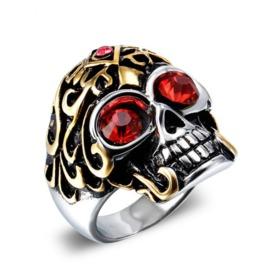 Retro Men's Titanium Steel Stainless Steel Diamond Plating Skull Ring
