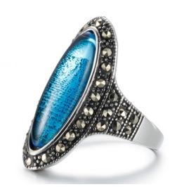 Retro Clear Crystal Gemstone Rings Stainless Steel Female Models Ring