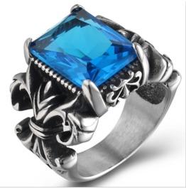 Men's European And American Retro Ruby Inlay Titanium Steel Finger Ring
