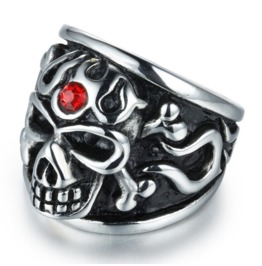 European And American Retro Punk Skull Ring Titanium Steel Finger Ring
