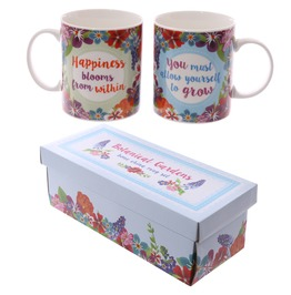 Egg N Chips London Fun New Bone China Mug Botanical Set Of 2