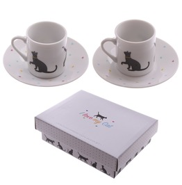 Egg N Chips London Set Of 2 Espresso Cup And Saucer I Love My Cat