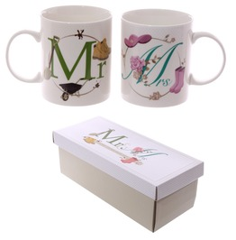 Egg N Chips London Fun New Bone China Mug Mr And Mrs Set Of 2