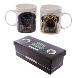 Egg N Chips London Fun New Bone China Mug Pug Shot Set Of 2