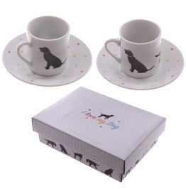 Egg N Chips London Set Of 2 Espresso Cup And Saucer I Love My Dog