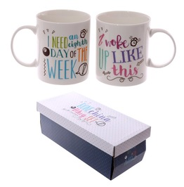 Egg N Chips London Fun New Bone China Mug Slogans Set Of 2