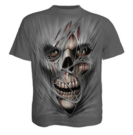 Brand New Men,S Horror Rips Skulls Charcoal T Shirt