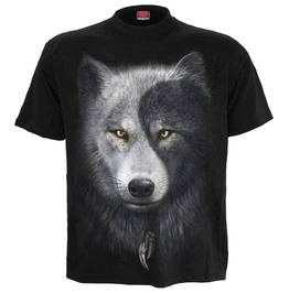 Men,S Black Wolf Yin Yang Native American T Shirt