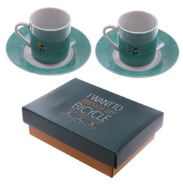 Egg N Chips London Set Of 2 Espresso Cup And Saucer Cycling
