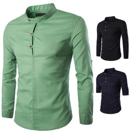 Men's Buttons Stand Collar Long Sleeved Slim Fitted Shirt