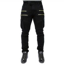 Mens front zipper multi pocket casual jeans jeans
