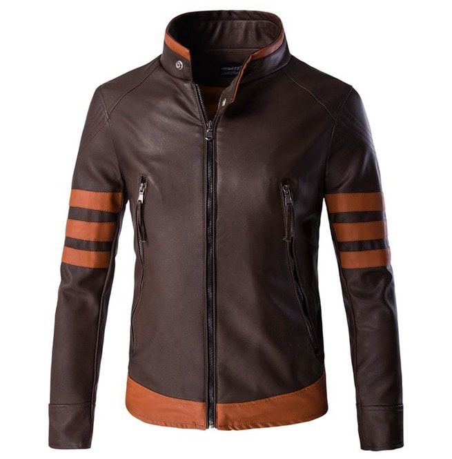 cc23526e13d Men s Plus Size Contrast Faux Leather Motorcycle Jacket