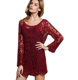 Sexy Long Sleeves Crochet Lace Short Dress