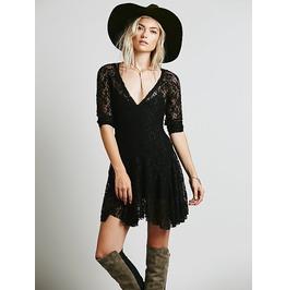 Sexy Deep V Neck Short Black Lace Dress