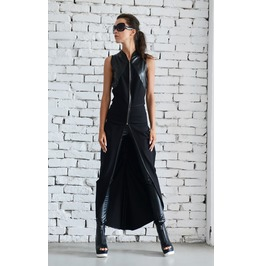 Asymmetric Black Vest/Long Loose Tunic/Chain Sleeveless Jacket/Leather Top