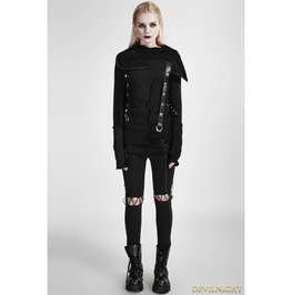 Black Gothic Hooded Stitching Knitted Sweater For Women