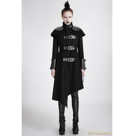 Black Gothic Asymmetric Woolen Military Jacket For Women Y 679 Bk