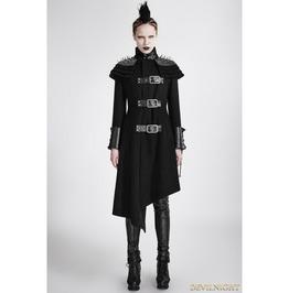 Black Gothic Asymmetric Woolen Military Jacket For Women Y 679 Bk