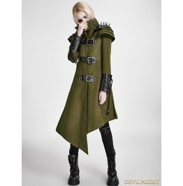 Green Gothic Asymmetric Woolen Military Jacket For Women