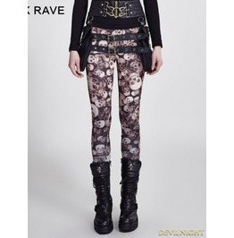 Gothic Coffee Skull Pattern Legging For Women
