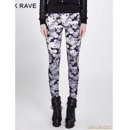 Gothic Black Skull Pattern Legging For Women