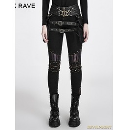 Black Steampunk Pu Leather Stitching Trousers For Women K 258