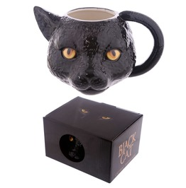 Egg N Chips London Novelty Black Cat Head Shaped Mug