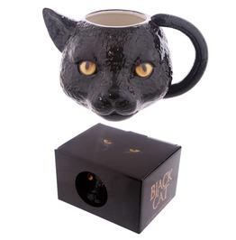 Egg N Chips London Novelty Black Cat Head Shaped Mug